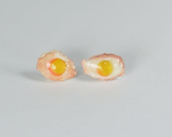 Stud Earrings, studs, miniature eggs, gourmet gem, jewel lunch flea eggs, egg, handmade Fimo clay creation