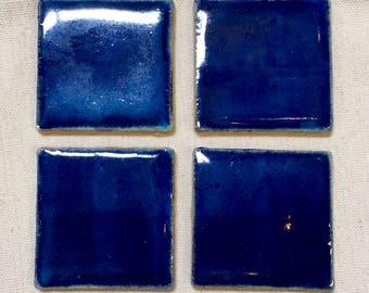 """Dark Blue 2""""x2"""" Handmade Ceramic Mosaic Tile Pack"""