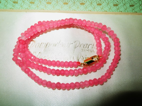 """Lovely faceted 2x4mm Pink Jade gemstone whitegold plated necklace 18"""""""