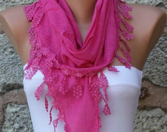 Hot Pink Cotton Scarf,Fall Easter, Mom Cowl Bridesmaid Gift Bridal Accessories Gift Ideas For Her Women's  Fashion Accessories