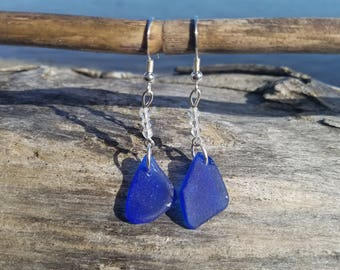 Cobalt Sea Glass Earrings with Swarovski Crystals