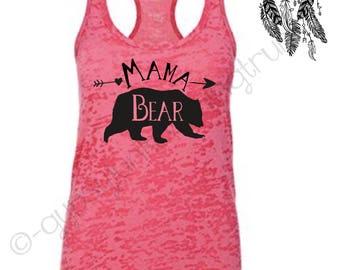 Mama Bear, Mama Bear Tank, Mama Bear Shirt, Gift for Mom, New Mom Outfit, Mom Life, Pink Mama Bear Top, Momma Bear, Personalized