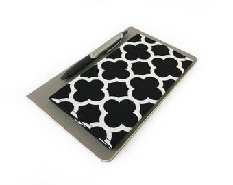Fabric Checkbook Cover - Black Checkbook Cover - Black and White Check Book Cover - Custom Checkbook Cover - Moroccan Checkbook Cover