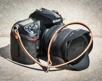 Chestnut English leather camera wrist strap