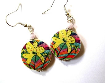 Yellow Orchid on tropical background. Earrings. Mother of Pearl shell dangles. Handmade.
