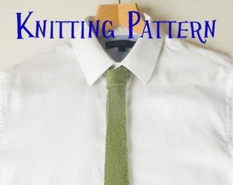 PDF Knitting Pattern - Mens Tie,  Bias Knit Tie Knitting Pattern, Knit Necktie Instructions, DIY Knit Tie