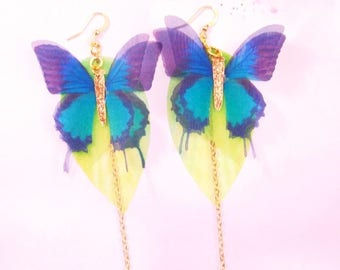 earrings fairy blue butterflies