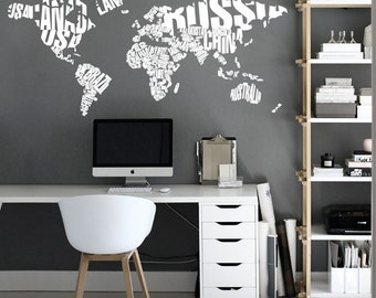 World map wall decals wall stickers country names text typography world map country names world map decal large world map vinyl wall sticker world map wall sticker gumiabroncs Image collections