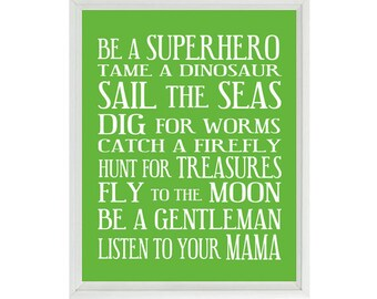 Boy Nursery Art - Green White Subway Art - Typography - Toddler Baby Rules - Baby Gift - Modern Fun Playroom Room Wall Art Print Poster