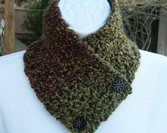 NECK WARMER SCARF Small Buttoned Cowl, Dark Green Red Brown Gold Soft Crochet Knit Winter Scarflette, Wood Buttons..Ready to Ship in 2 Days