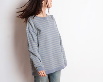 90s striped OXFORD soft SWEATSHIRT oversize top