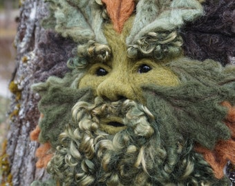 Needle Felted One of a kind Summer Gargoyle or Green Man Soft Sculpture by Bella McBride Greenman or Hunky Punk