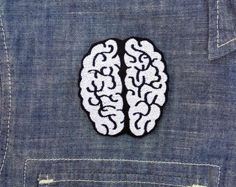 A Brain - use it - Embroidery Iron on Patch