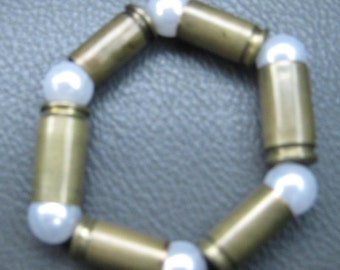 Recycled 9mm & 7.65mm Caliber REAL Bullet Casings Bracelet Brass Jewlery