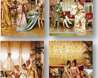 Frederick Soulacroix Victorian Art, Society Ladies, Amazing Vivid Details, Set of 4 Prints