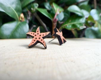 Starfish Earrings, Starfish Studs, Stud Earrings, Beach Jewelry, Ocean Jewelry, Nautical Jewelry, Starfish, Beachy, Wood Jewelry, laser cut