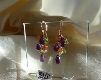 Amethyst briolette sunstone peridot  earrings 14k gold filled gemstone handmade item 905