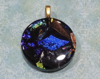 One of a Kind Dichroic Pendant, Fused Glass Pendant, Black, Royal Blue, Purple, Orange Green, Fused Glass Jewelry, Ready to Ship - Eloise--6