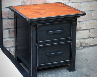 Night Stand Industrial Modern | Vintage Style Steel Metal Nighstand | Drawer Cabinet | File Cabinet | End Table