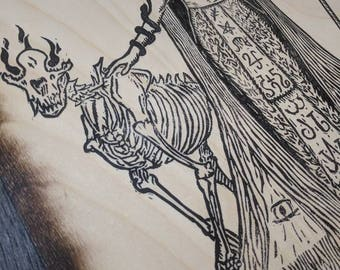 Guardian of the Threshold - Occult woodcut style blockprint pressed by hand to wood