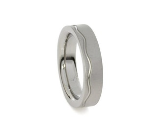 Band Ring in Pure Titanium Anodized - Hypoallergenic - Enamel - Sea Wave - Custom - Engraving - Made in Italy - Faith Collection