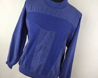 Vintage Carson Pirie Scott XL Shirt Men's Mock Turtleneck Geometric Design 80's Banded Waist Side Pockets H9