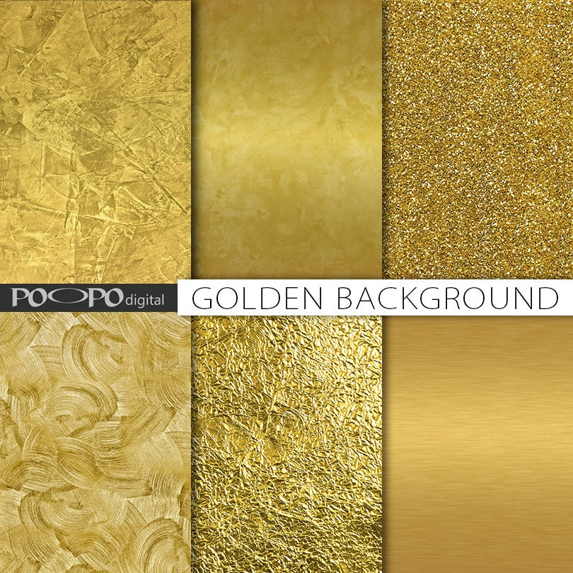 Gold Textures Digital Paper Gold Foil Background Golden Printable
