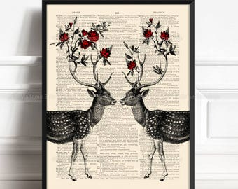 Stag Wall Decor, Deer Painting, Wife Woman Gift, Rose Antler Print, Wife Xmas Gift, Couples Gift Print, 5th Year Anniversary, Wall Decor 440