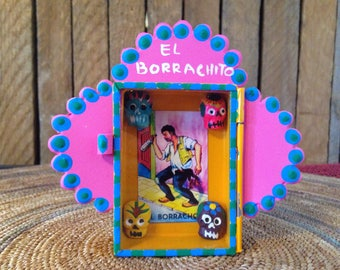 El Borrachito Mini Shadowbox Mexican Folk Art
