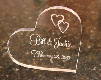 Personalized Acrylic Heart Shaped Cake Topper, Engraved Cake Topper, Heart Cake Topper, Custom Cake Topper, Keepsake Cake Topper, Wedding