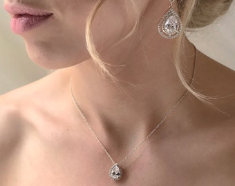 Wedding Earrings Long Drop Earrings Bridal Accessories Bridal Jewelry Teardrop Earrings Crystal Earrings Silver Wedding Accessories E144-S