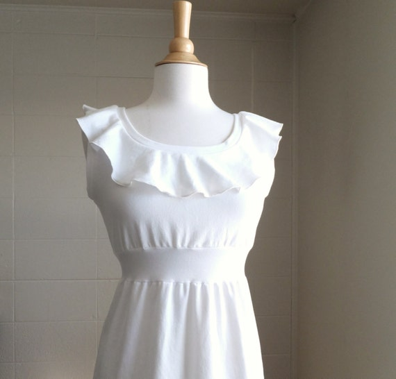 Ruffle collar dress Womens Empire waist Dress sleeveless scoopneck with Ruffled neckline embellished dress bridesmaid party - made to order
