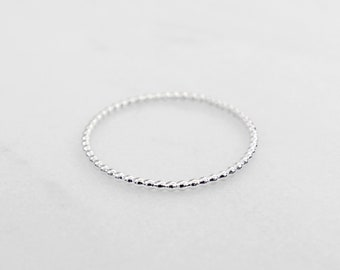 Tiny sterling silver bead ring - Delicate silver band ring - Minimalist sterling silver ring - Stackable silver ring -Handmade stacking ring