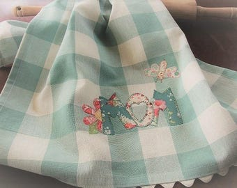 Spring Kitchen Towel - Mothers Day GIft - Kitchen Decor Accessory - Farm Style Towel - Blue White Large Check Towel - Mom - Bees - Flowers