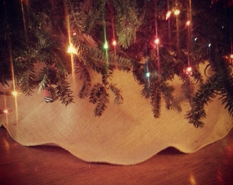 "40"" Natural Burlap Christmas Tree Skirt--4 Colors Available-Rustic/Folk/Country-Simple Tree Skirt-Minimalist"