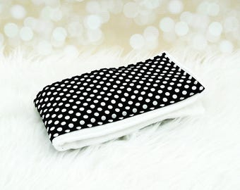 Baby Burp Cloth (Small White Dots on Black) ||| burp rag, baby burp cloths, burping rag, baby shower gift, baby gift, new baby gift
