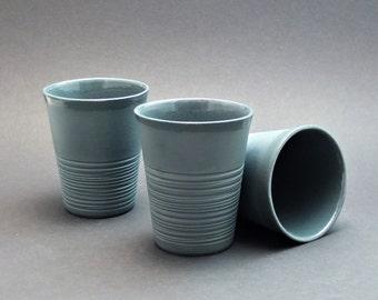 Anthracite porcelain mug, contemporary ceramics, modern mug, dark gray ripped porcelain mug, anthracite mug, coffee mug