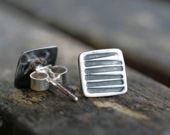 Geometric Earrings, Small Stud Earrings, Post Earrings, Square Studs, Silver Square Earrings, Square Stud Earrings, Silver Square Studs
