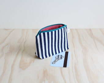 Coin purse Navy Stripes and Red