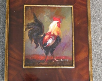 LF44757E: Burl Walnut Frame Rooster Oil Painting on Board