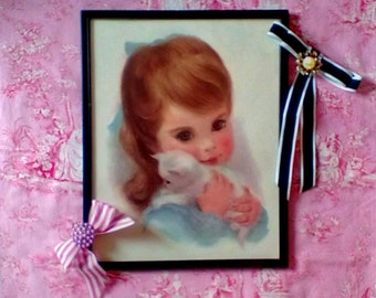 Vintage Print Featuring a little Girl and Her Kitten