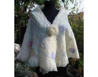 Felt Wool Blouse,Nuno Felt Poncho,Nuno Felt Shawl,Silk Wool Felt Shawl, Nuno Felt Poncho Blouse,White Poncho,Handmade, OOAK