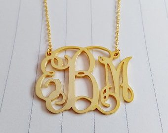 """2.5"""" inch Personalized Monogram Necklace,Personalized Initial Monogram Necklace,Large Gold Monogram Necklace,Monogrammed Gifts"""