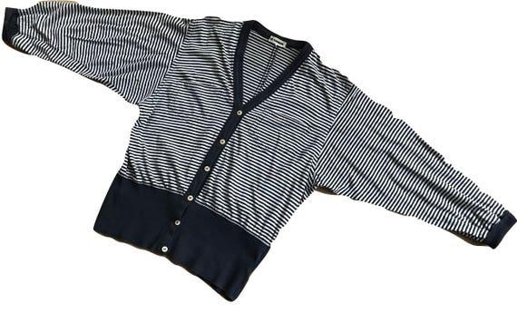 Vintage Jil Sander striped bleu with white jersey cardigan, size L