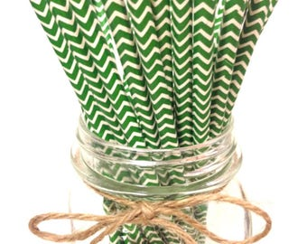 25 Holiday Green Chevron paper straws // baby bridal shower decorations //candy dessert buffet table//wedding//First birthday/new year party