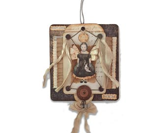 Fairy Child Assemblage, Twilight Fairy, Mixed Media Collage, One of a Kind Fairy Fantasy Art,