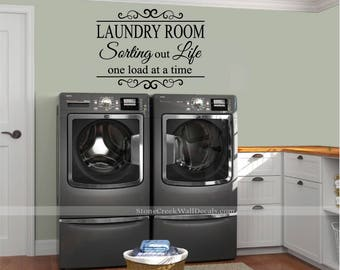 More colors. The Laundry Room Sorting Out Life Vinyl Wall Decal ... & Laundry room decals | Etsy