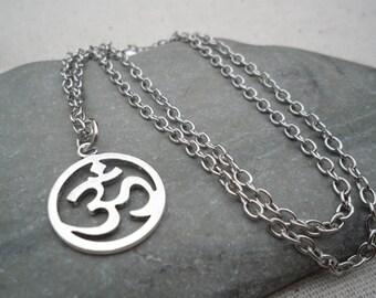Silver Om Ohm Pendant - Yoga Meditation Jewelry - Silver Om Ohm Necklace