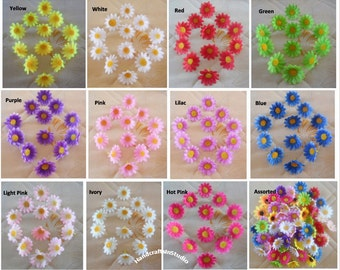 Scrapbooking artificial flowers etsy silk gerbera daisy mini flower heads 100pcslot diy crafts artificial flower head for hair mightylinksfo