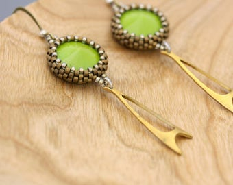 Wasabi green rivolis hand beaded with glass seed beads and vintage brass earrings.